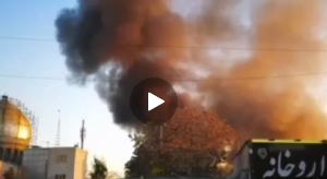 (هماکنون ؛ آتشسوزی گسترده در خیابان شوش تهران حوالی ایستگاه مترو